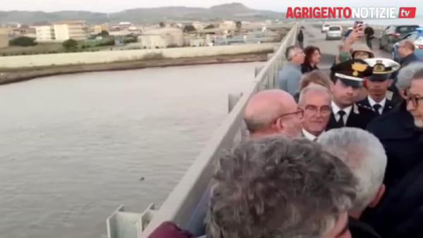 Il governatore Musumeci sul fiume Salso dopo il nubifragio, ecco le immagini