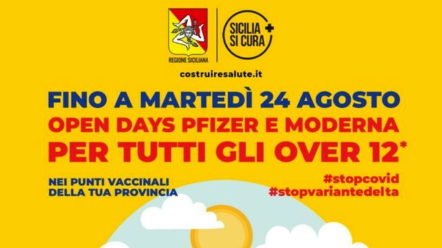 """Vaccini, in Sicily the """"open days"""" will continue until 24 August thumbnail"""