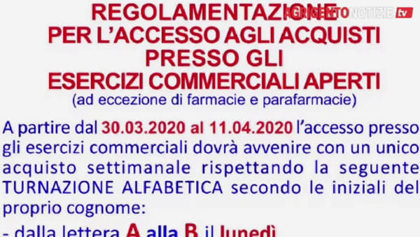"""A Favara spesa con il turno alfabetico per evitare il contagio del Covid-19, il sindaco: """"Non si esce per un etto di prosciutto"""""""