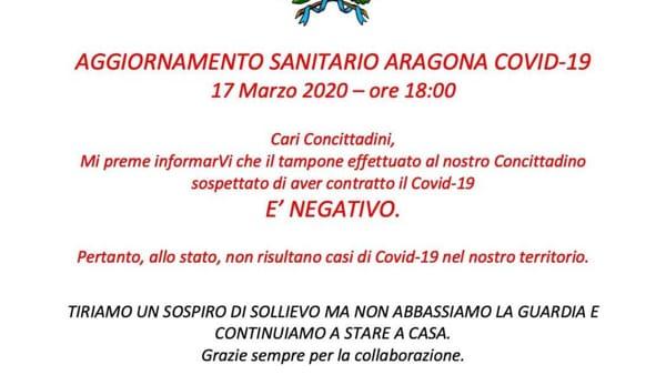 sindaco aragona aggiornamento covid-2